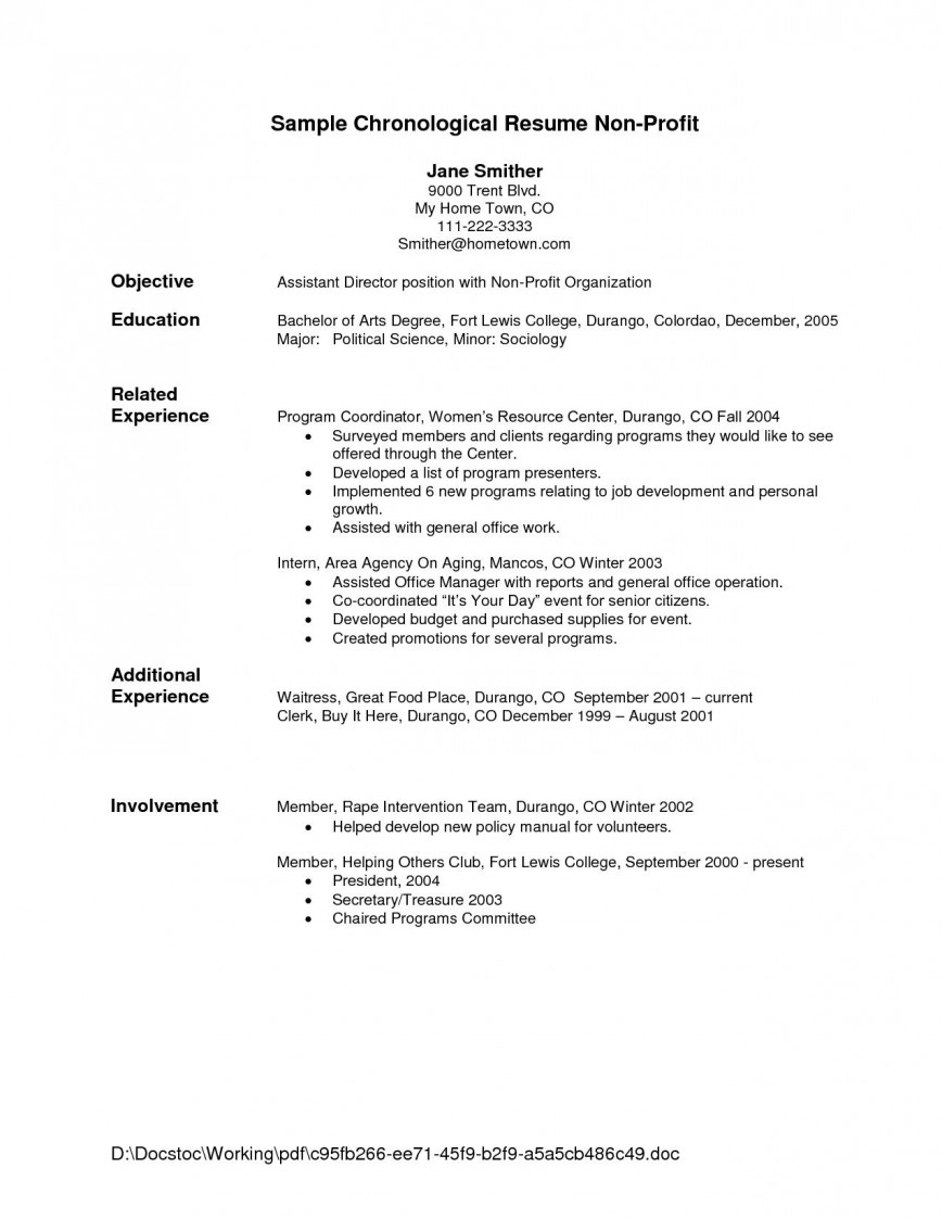 Free Chronological Resume Template Addictionary