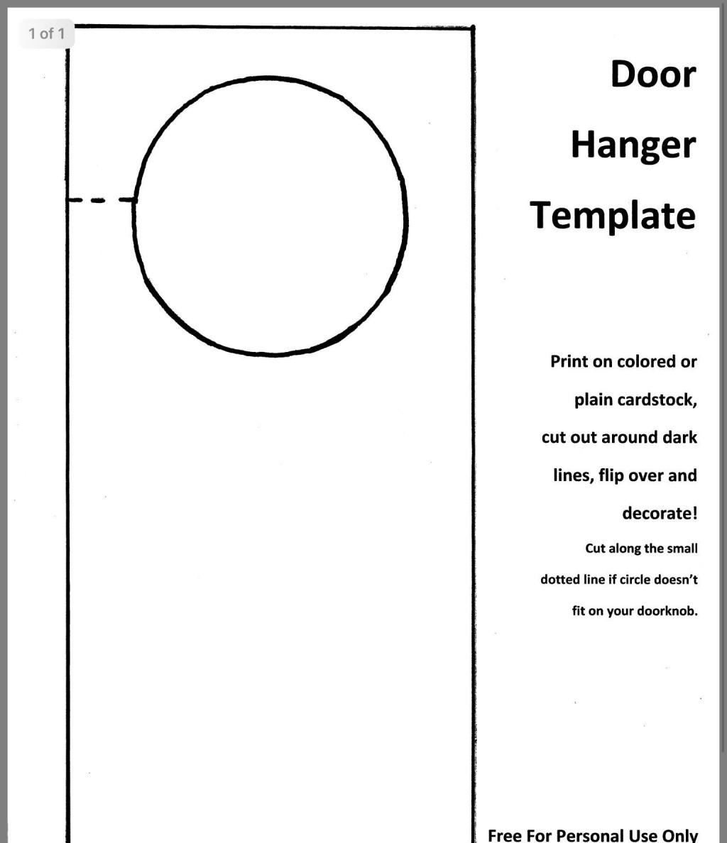 001 Impressive Free Door Hanger Template Photo  Templates Printable Wedding Blank DoorknobLarge