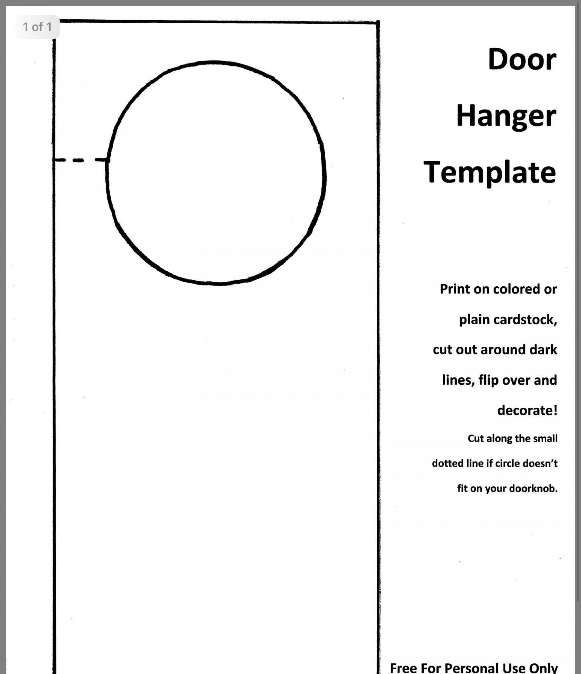 001 Impressive Free Door Hanger Template Photo  Templates Printable Wedding Blank Doorknob1920