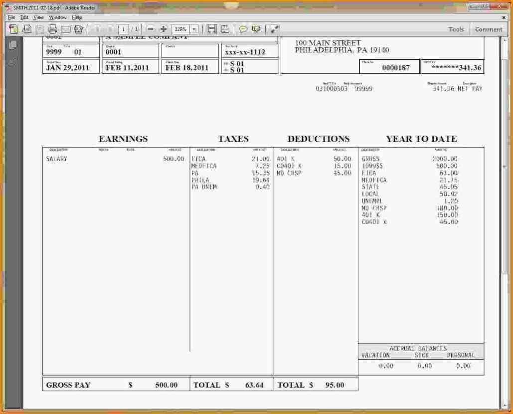 001 Impressive Free Pay Stub Template Excel Highest Quality  CanadaFull