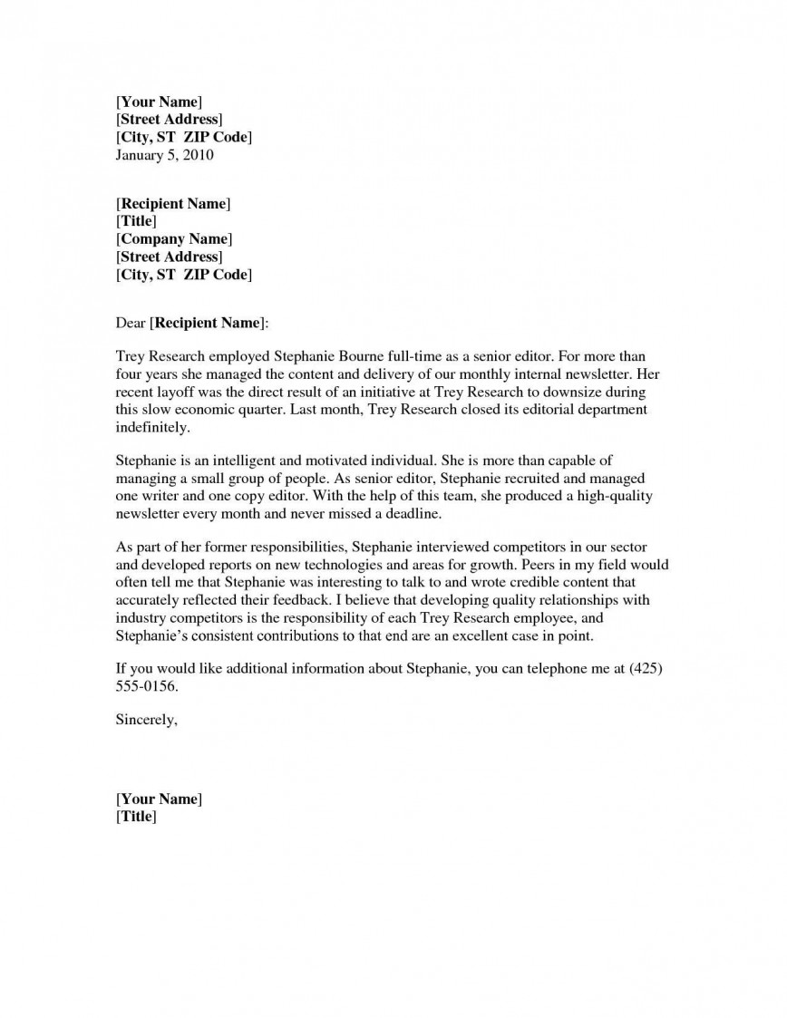 001 Impressive Letter Of Recommendation Template Word Picture  General Short Uk