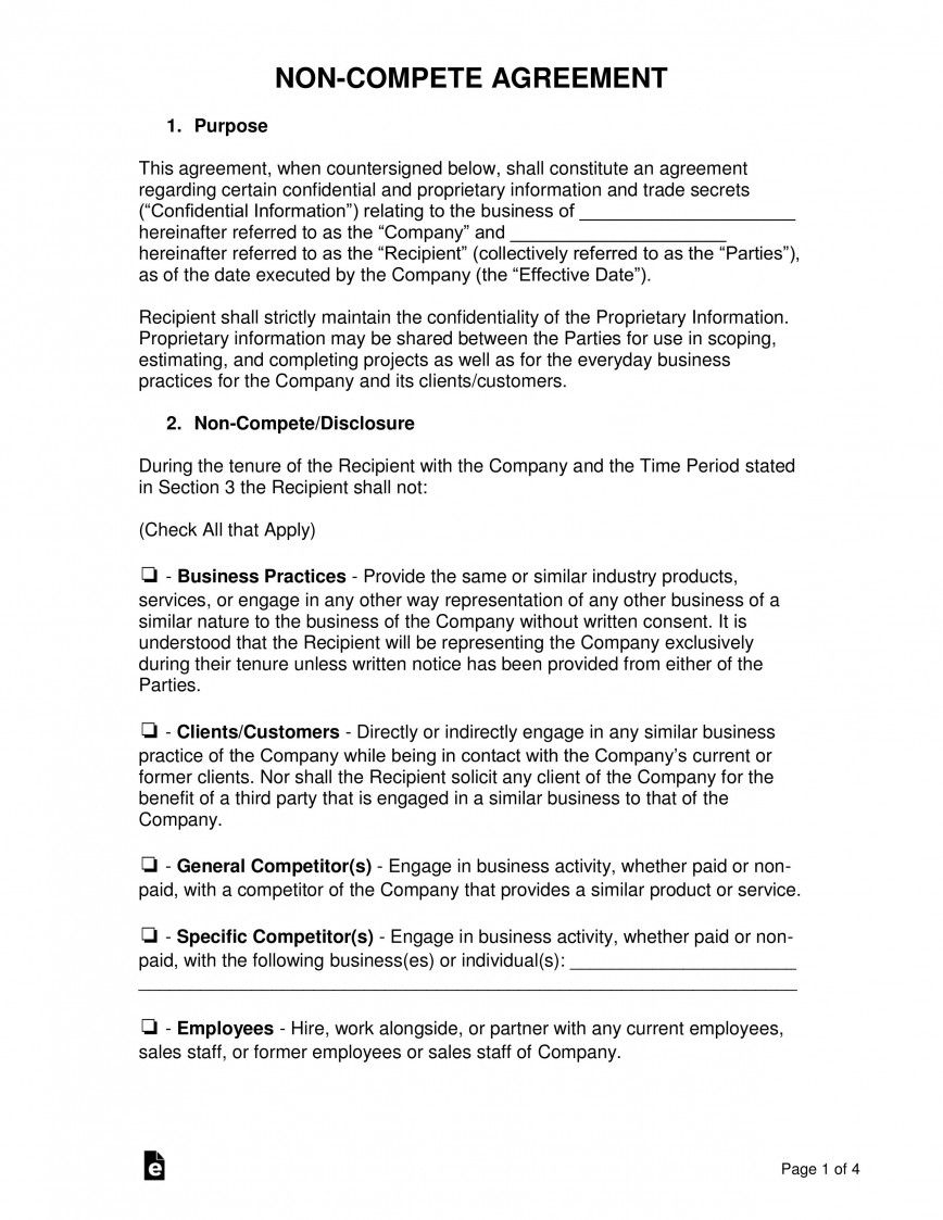 001 Impressive Non Compete Agreement Template Uk High Definition Full