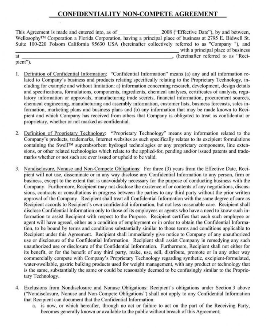 001 Impressive Non Compete Agreement Template Word Photo  Microsoft Non-compete Free
