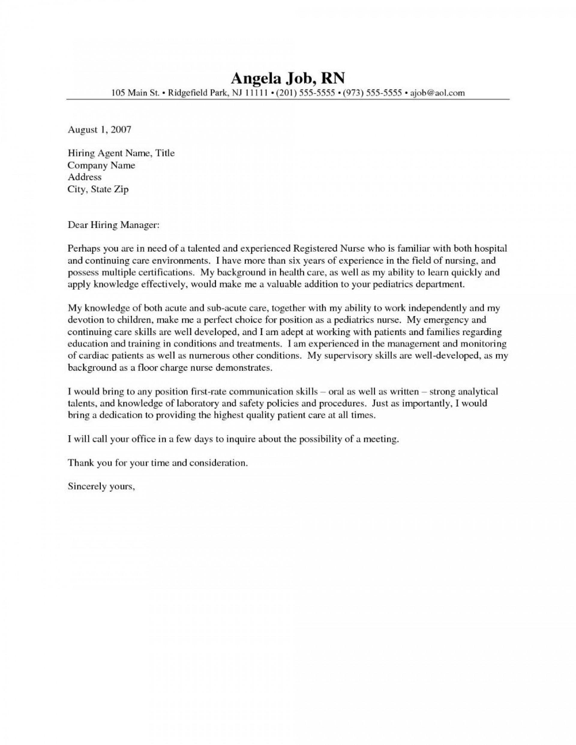 001 Impressive Nursing Cover Letter Template Highest Clarity  New Grad Word School1920