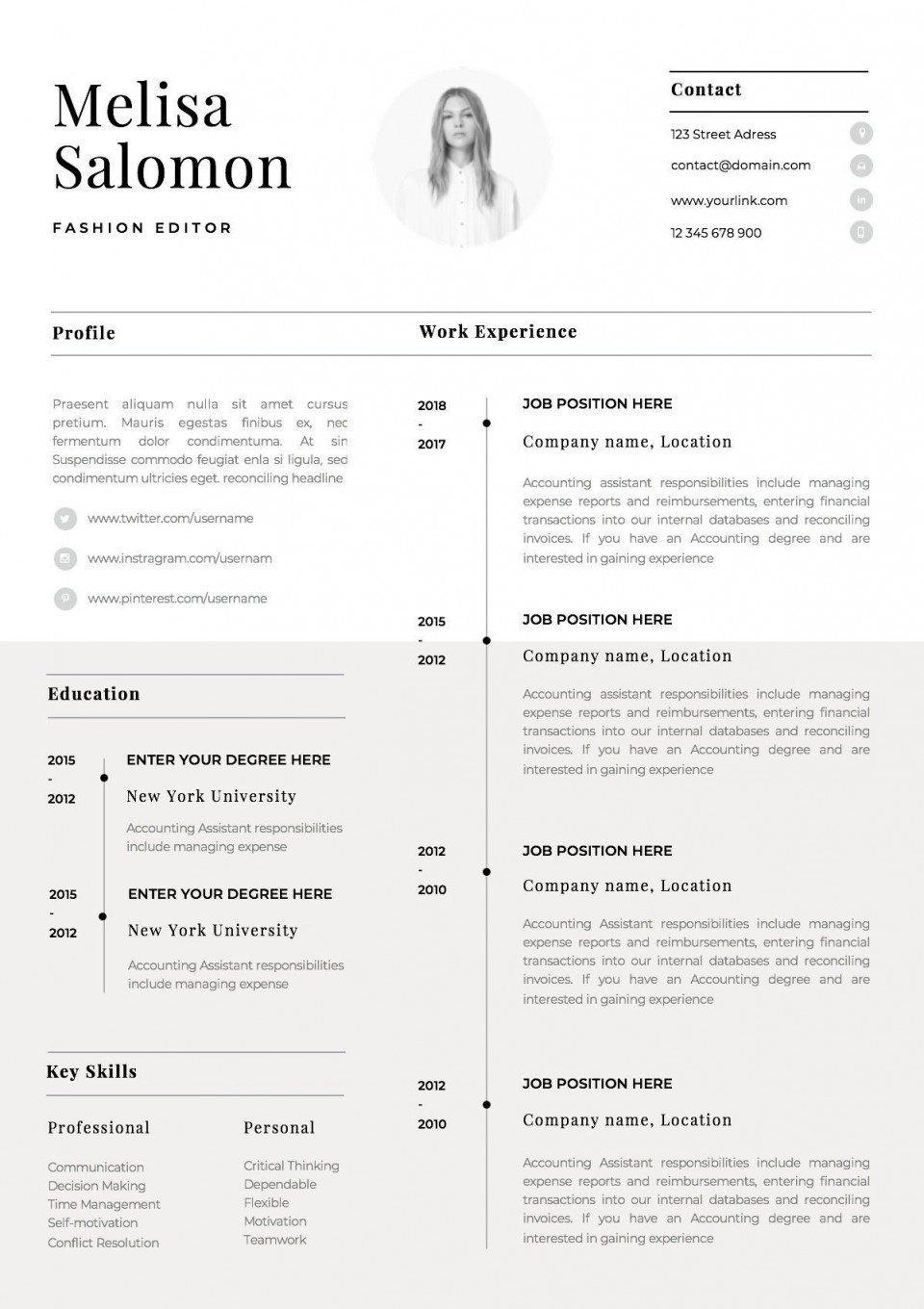 001 Impressive One Page Resume Template Idea  Word Free For Fresher Ppt Download Html960