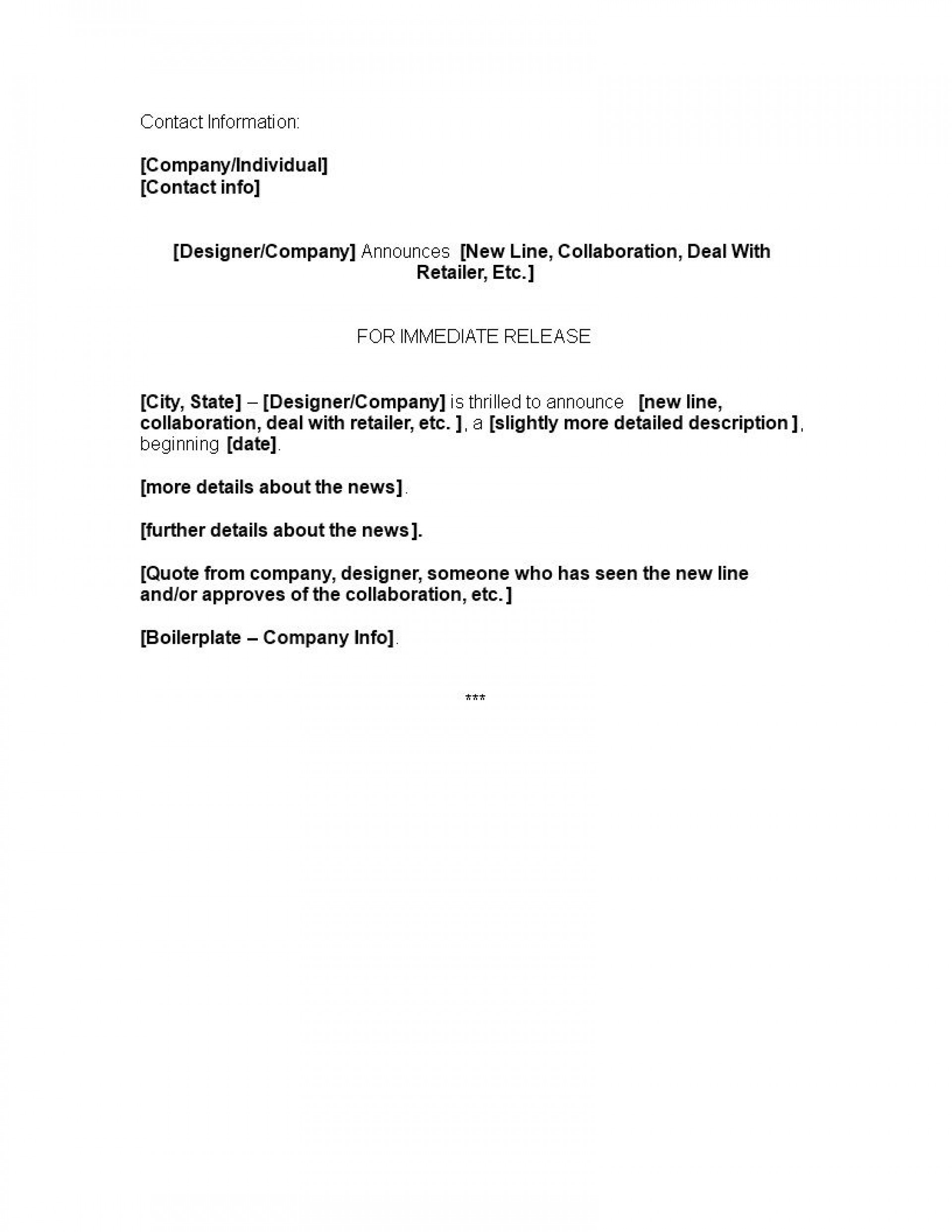001 Impressive Pres Release Template Doc Concept  Format Example Sample1920