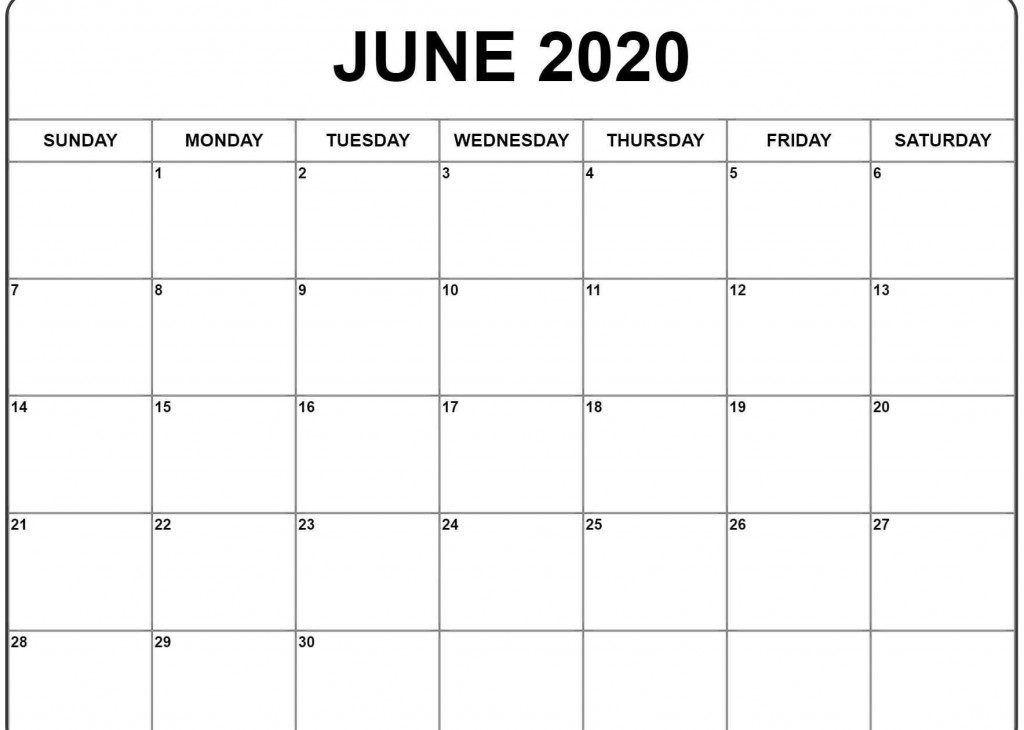 001 Impressive Printable Calendar Template June 2020 Photo  FreeLarge