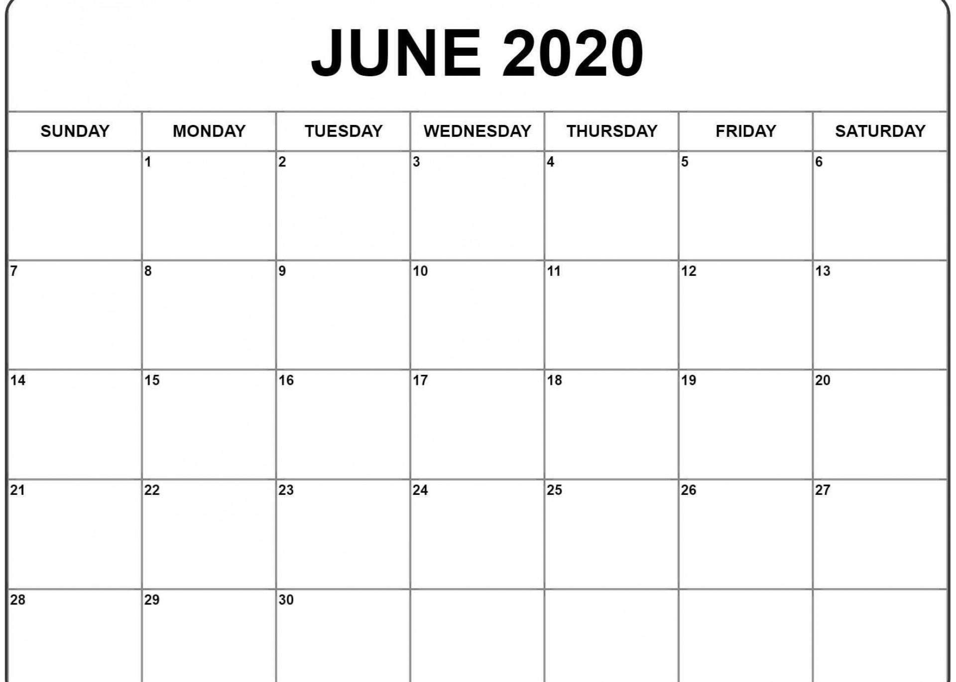 001 Impressive Printable Calendar Template June 2020 Photo  Free1920