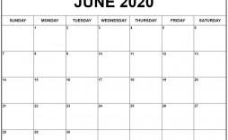 001 Impressive Printable Calendar Template June 2020 Photo  Free