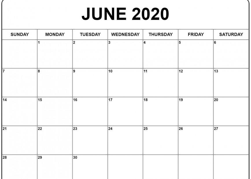 001 Impressive Printable Calendar Template June 2020 Photo  Free Blank
