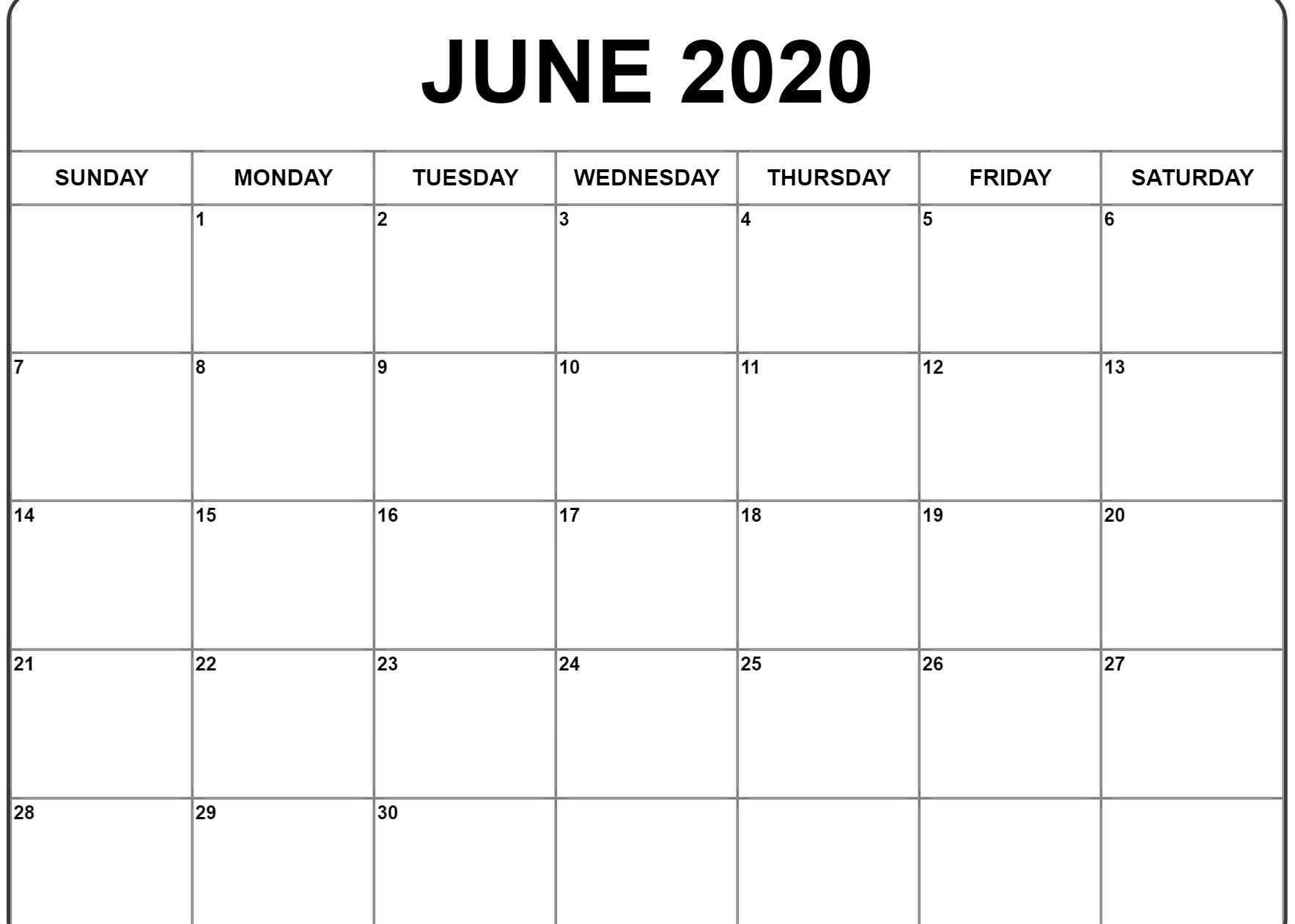001 Impressive Printable Calendar Template June 2020 Photo  FreeFull