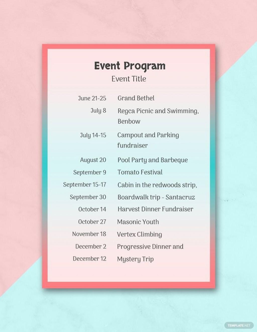 001 Impressive Printable Event Program Template Picture  Free DownloadLarge