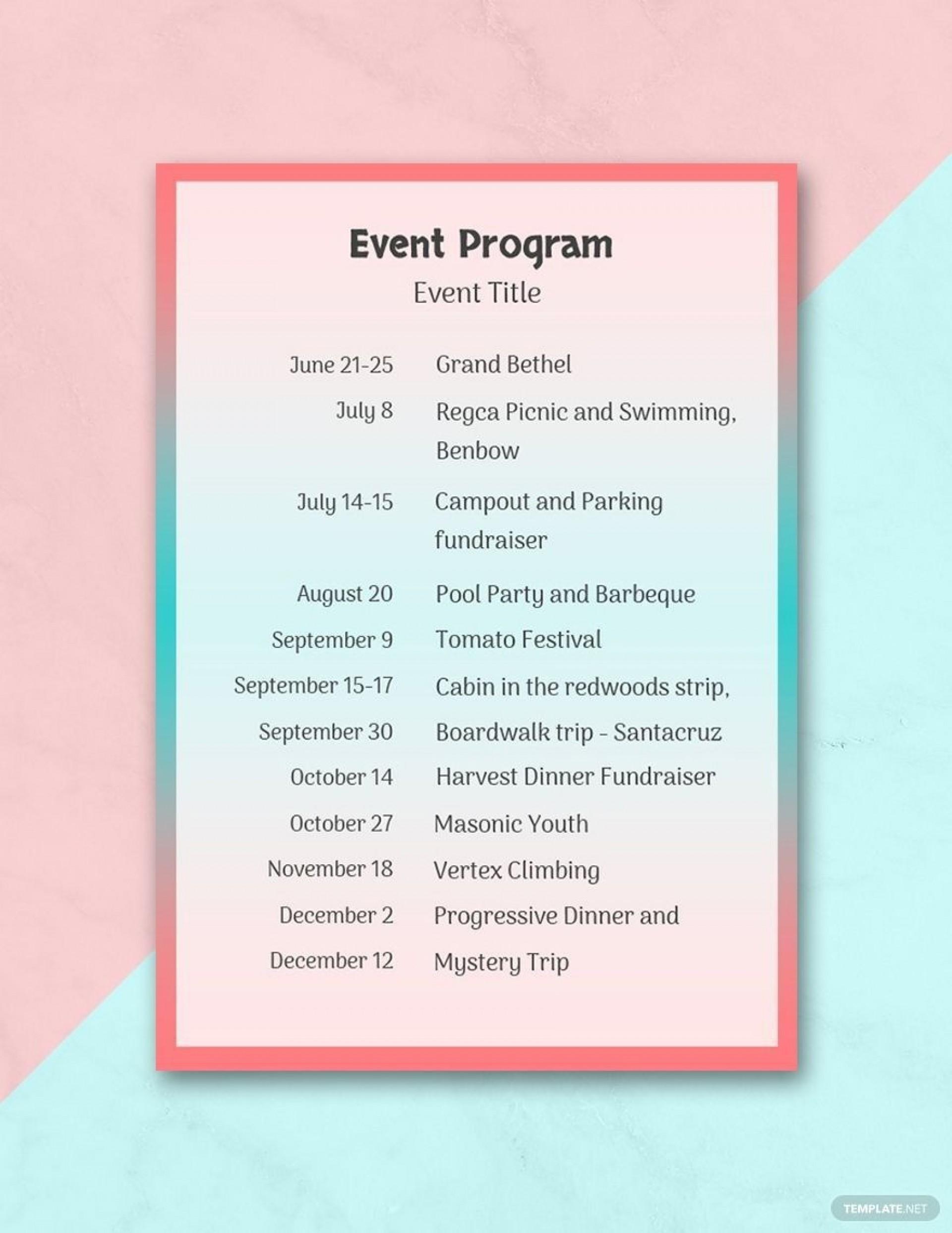 001 Impressive Printable Event Program Template Picture  Free Download1920