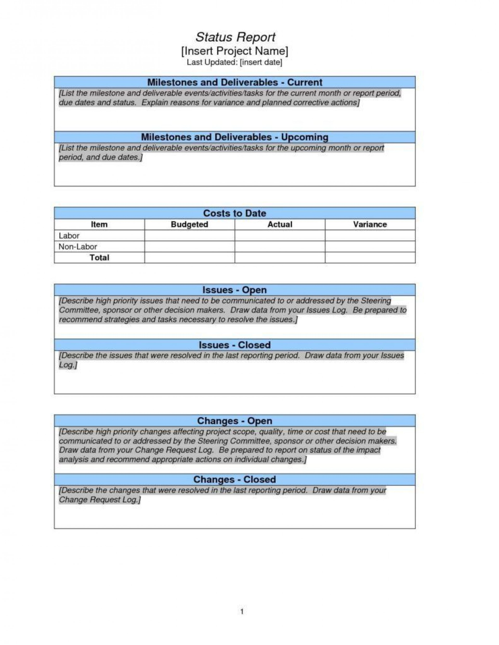 001 Impressive Project Management Report Format Inspiration  Template Word Free Example Pdf1920