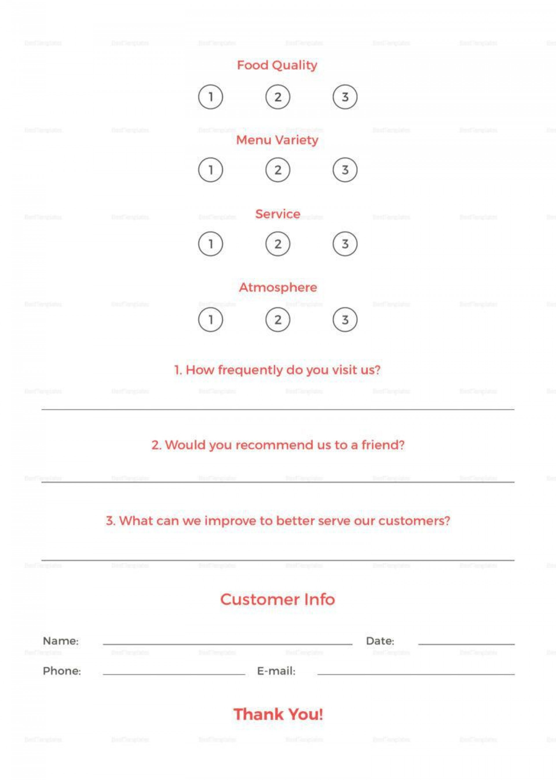 001 Impressive Restaurant Comment Card Template For Word Inspiration 1920