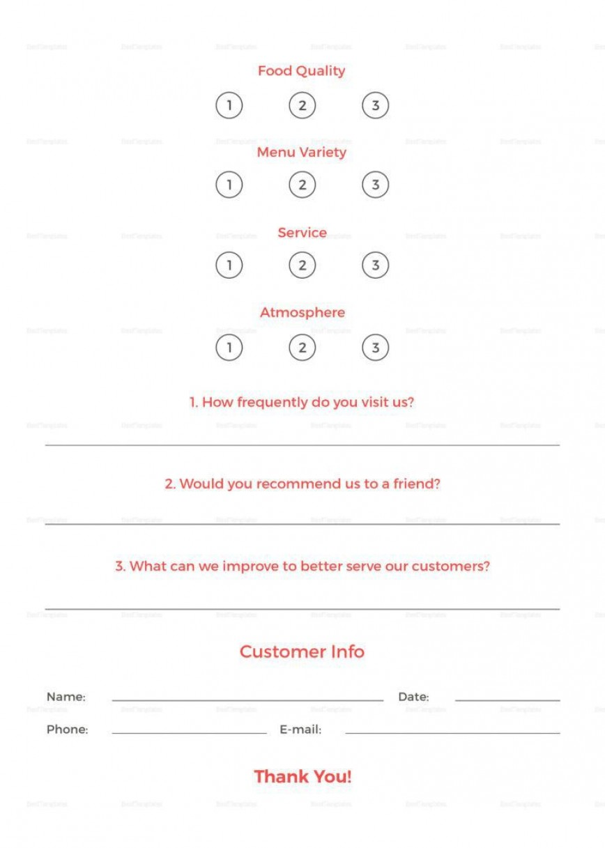 001 Impressive Restaurant Comment Card Template For Word Inspiration