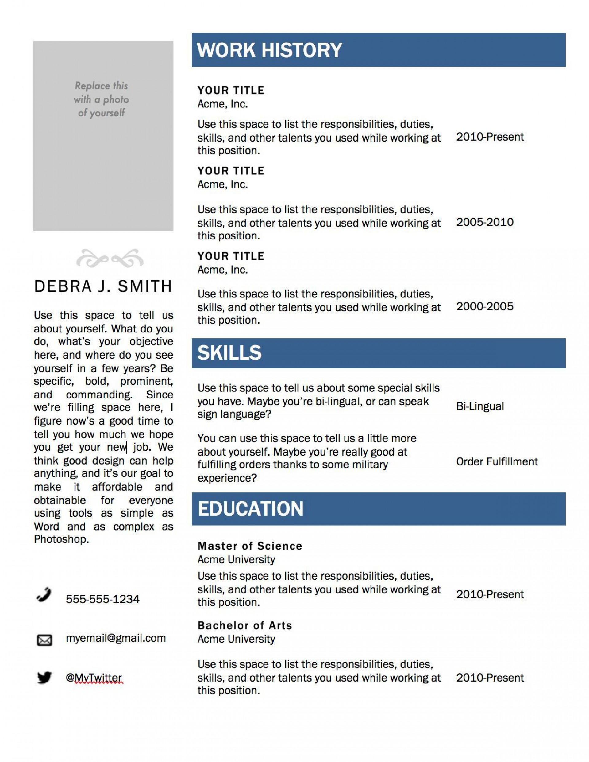 001 Impressive Resume Template On Microsoft Word Image  Sample 2007 Cv 20101920