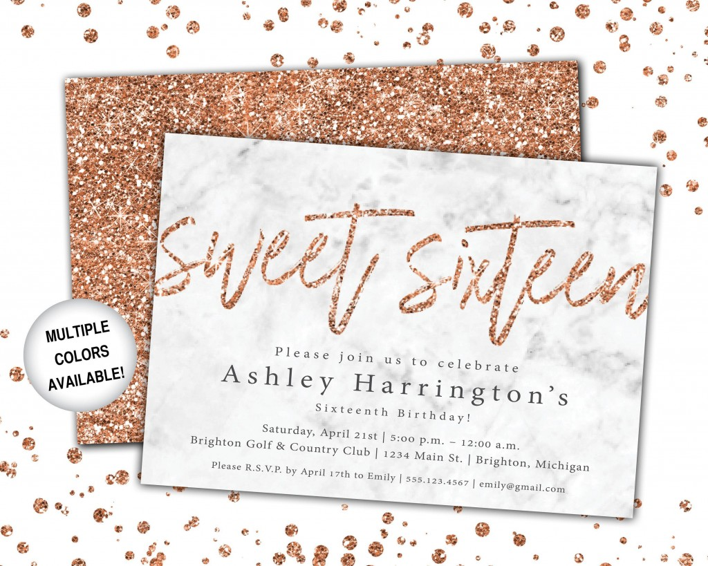 001 Impressive Sweet 16 Invite Template Photo  Templates Surprise Party Invitation Birthday Free 16thLarge