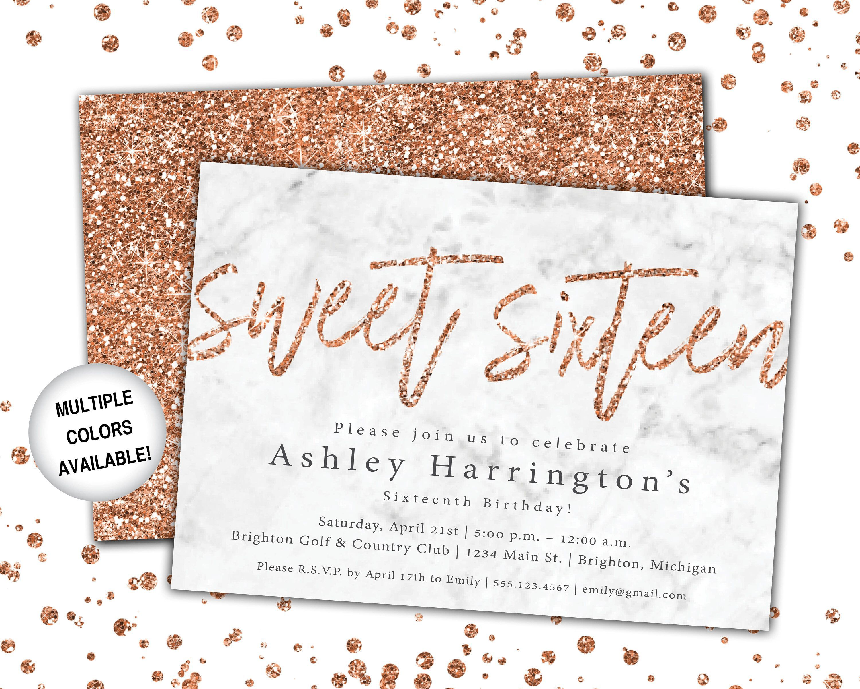 001 Impressive Sweet 16 Invite Template Photo  Templates Surprise Party Invitation Birthday Free 16thFull
