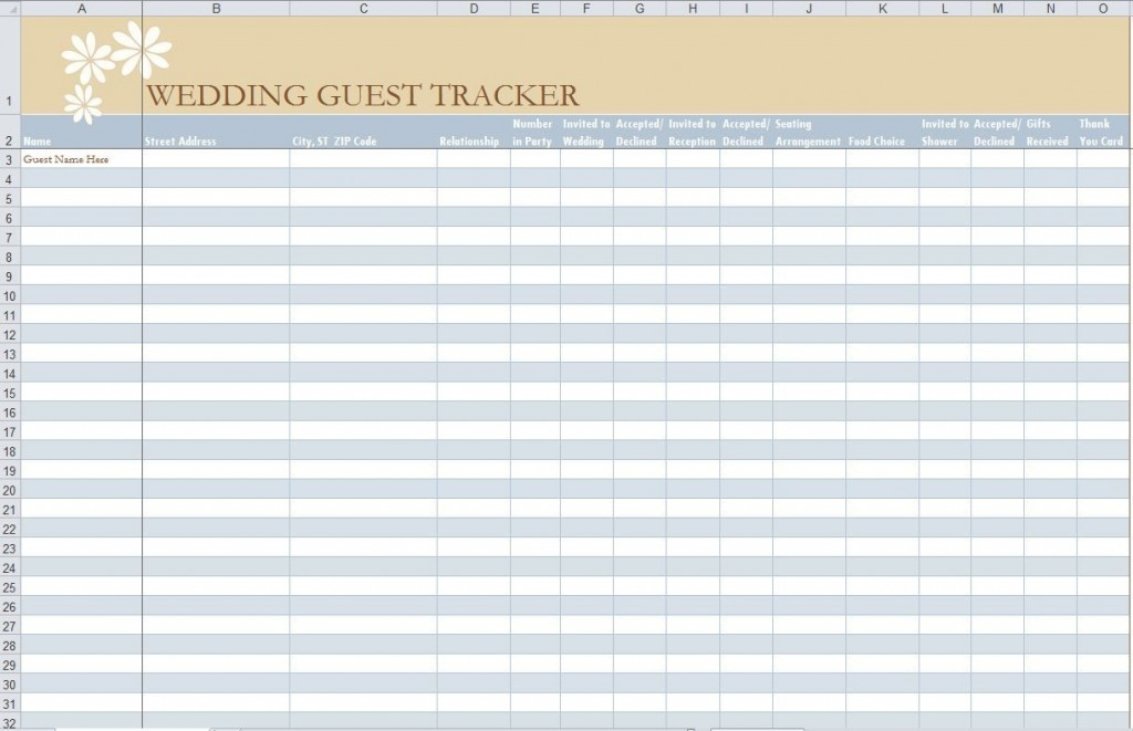 001 Impressive Wedding Guest List Template Excel Download Idea Large