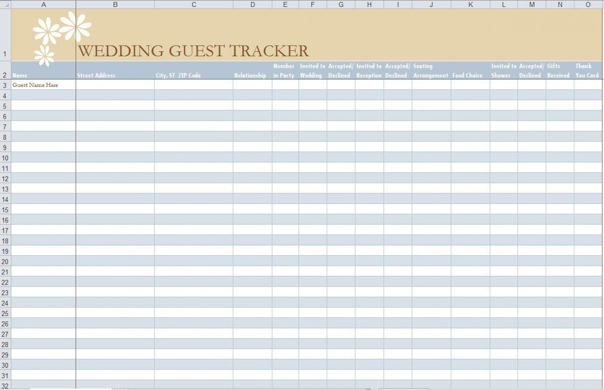 001 Impressive Wedding Guest List Template Excel Download Idea 1920