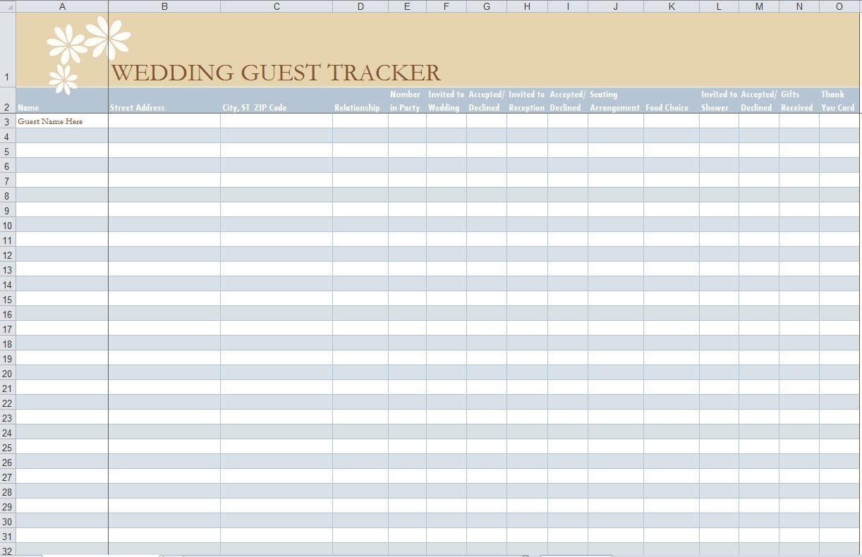 001 Impressive Wedding Guest List Template Excel Download Idea Full