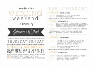 001 Impressive Wedding Weekend Itinerary Template Concept  Day Timeline Word Sample320