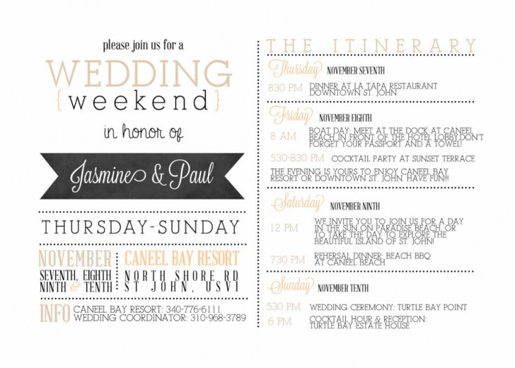 001 Impressive Wedding Weekend Itinerary Template Concept  Day Timeline Word Sample728