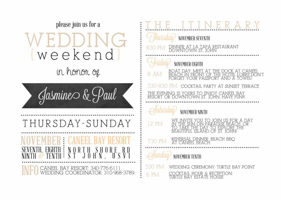 001 Impressive Wedding Weekend Itinerary Template Concept  Day Timeline Word Sample960