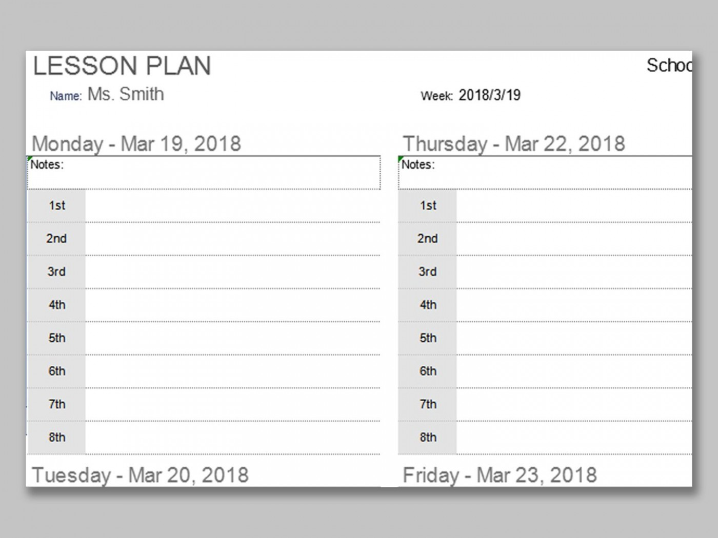 001 Impressive Weekly Lesson Plan Template Photo  Preschool Google Doc Editable1400
