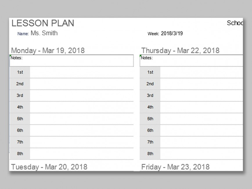 001 Impressive Weekly Lesson Plan Template Photo  Preschool Google Doc Editable868