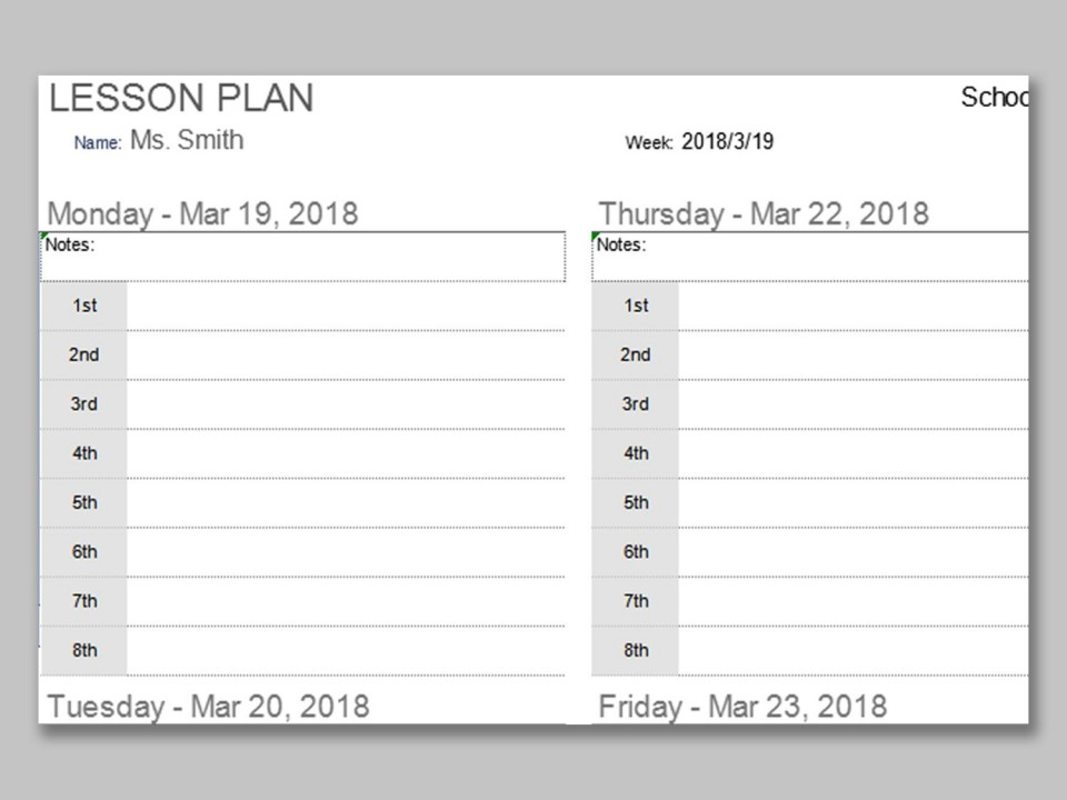 001 Impressive Weekly Lesson Plan Template Photo  Preschool Google Doc Editable960