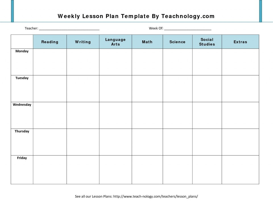 001 Impressive Weekly Lesson Plan Template Design  Blank Free High School Danielson Google Doc960