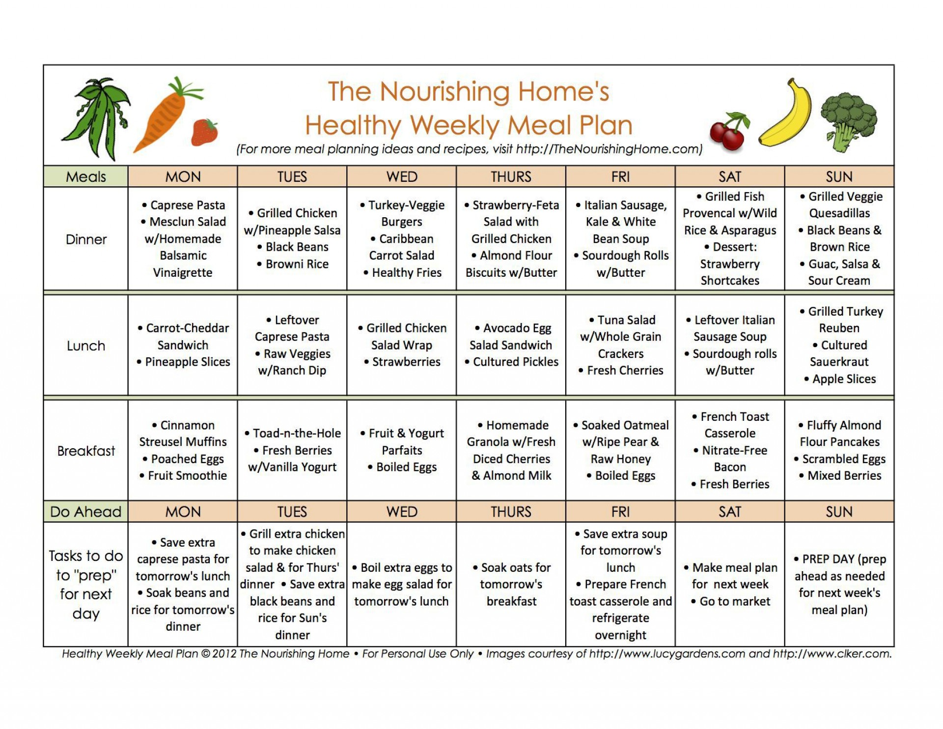 001 Impressive Weekly Meal Plan Example Sample  Examples 1 Week Template One1920