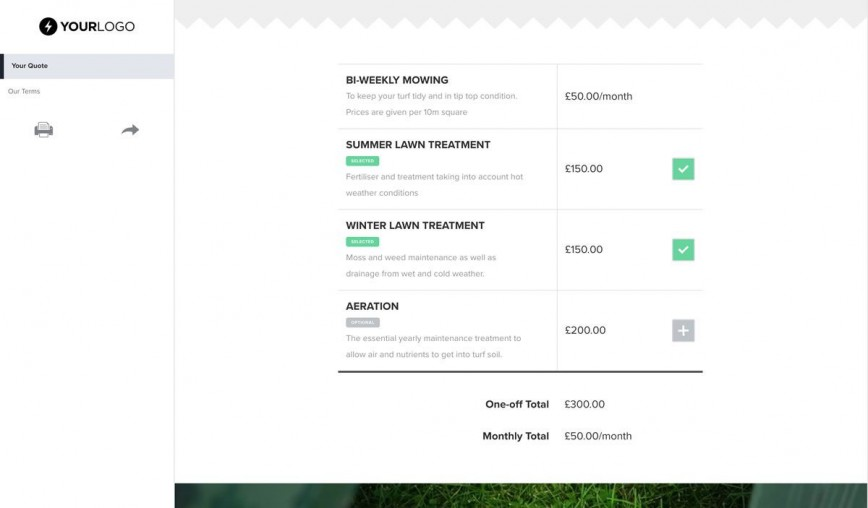 001 Incredible Commercial Lawn Care Bid Template Concept