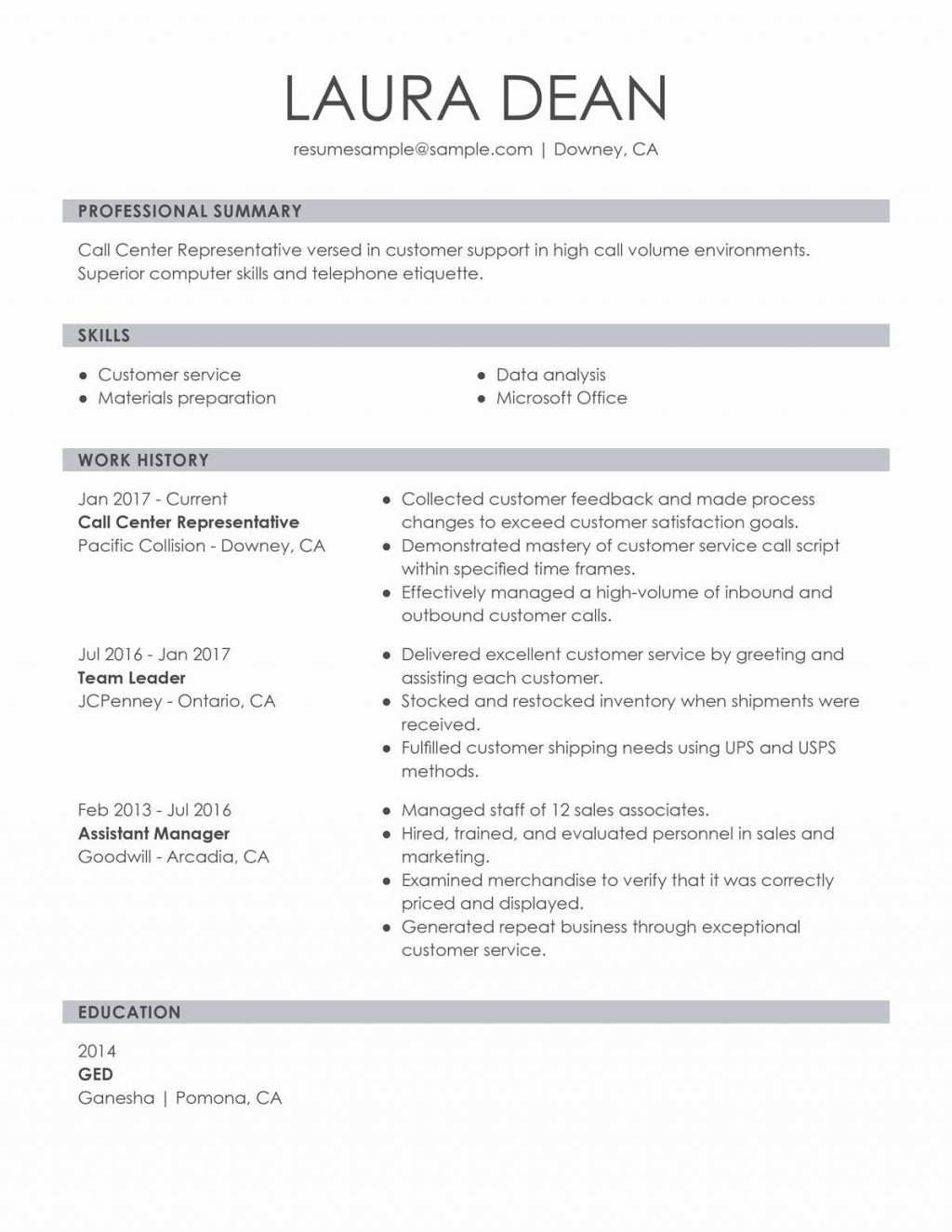 001 Incredible Customer Service Resume Template Sample  CvLarge