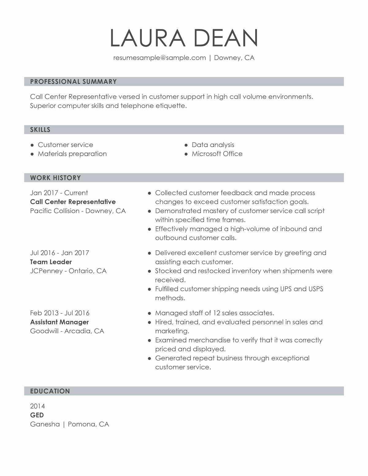 001 Incredible Customer Service Resume Template Sample  CvFull