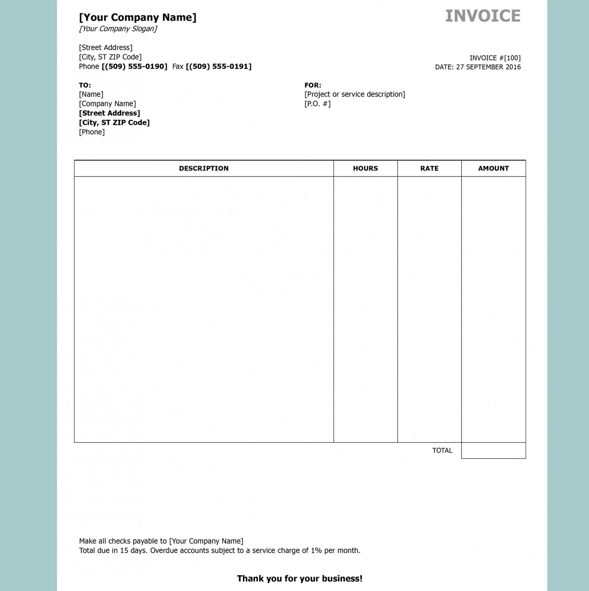 001 Incredible Excel Invoice Template Download Free Concept  Service Cash Receipt For Mac1920