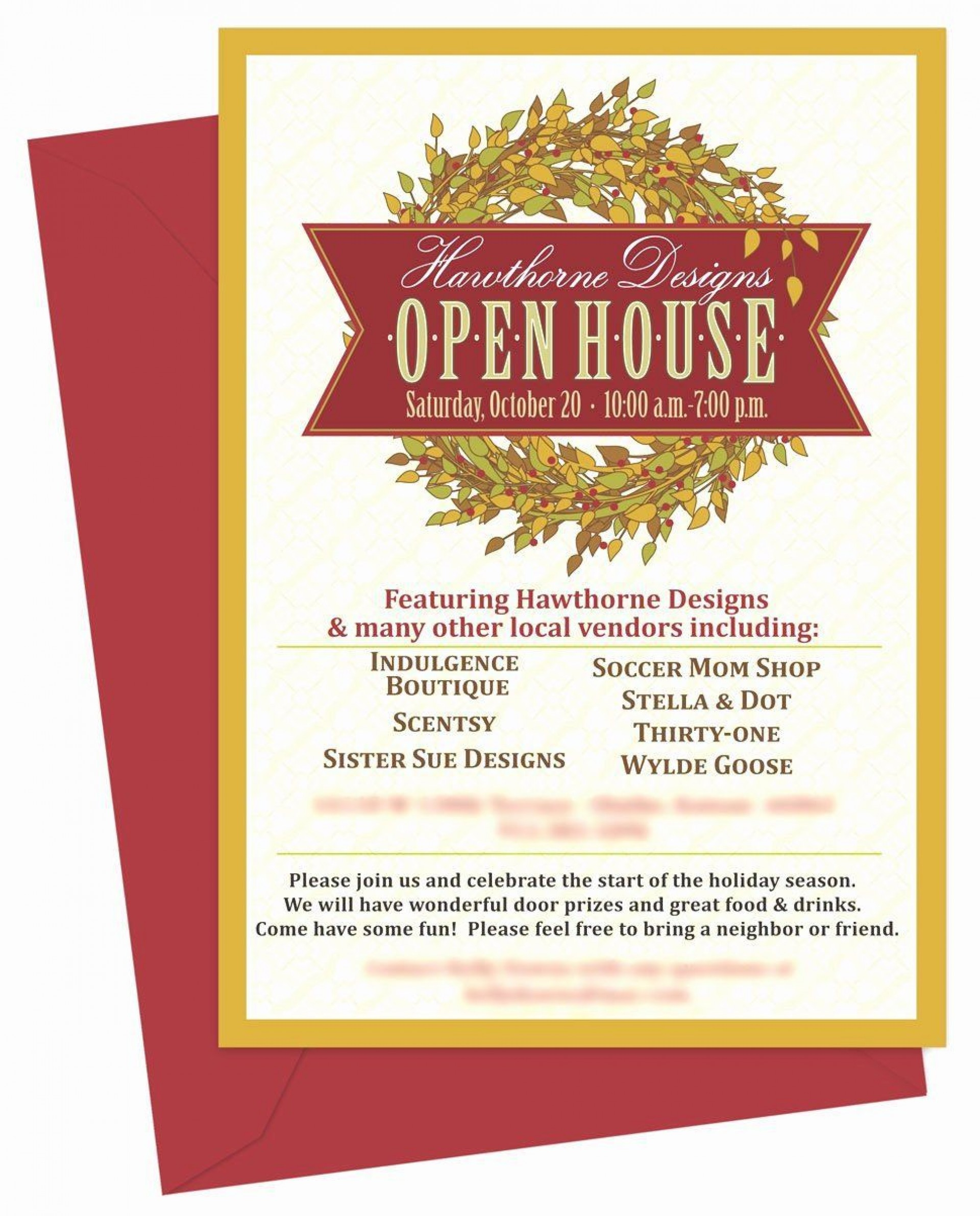 001 Incredible Holiday Open House Invitation Template Photo  Christma Free Printable Wording Idea1920