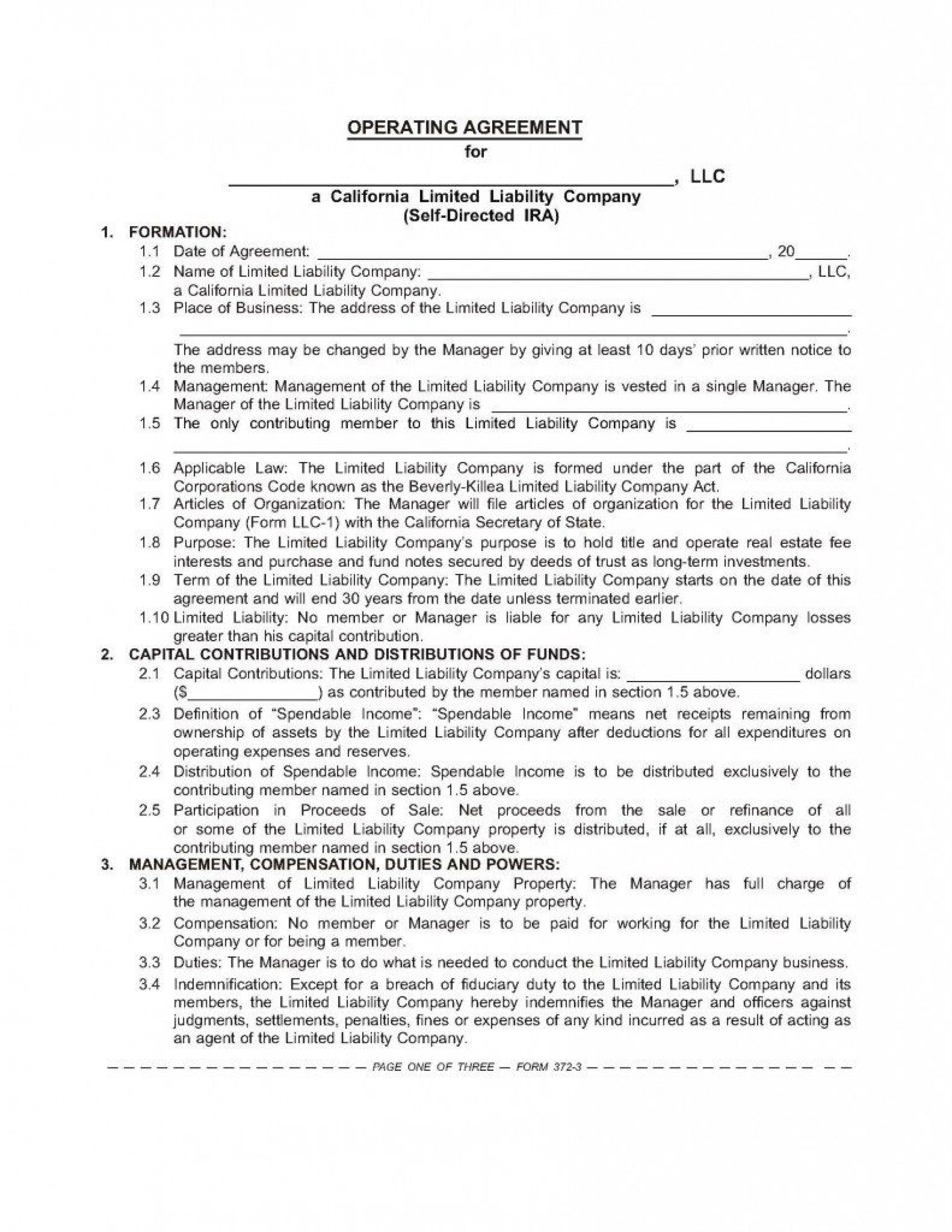 001 Incredible Operating Agreement Template For Llc Highest Quality  Form Florida Texa1920