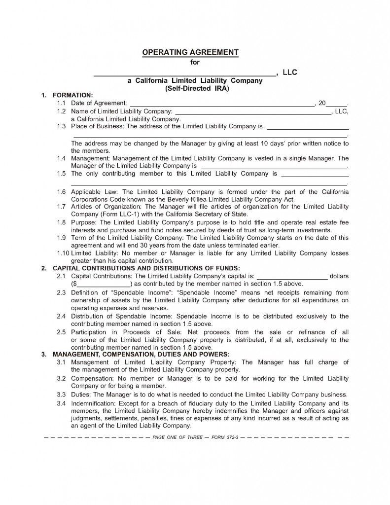 001 Incredible Operating Agreement Template For Llc Highest Quality  Form Florida TexaFull