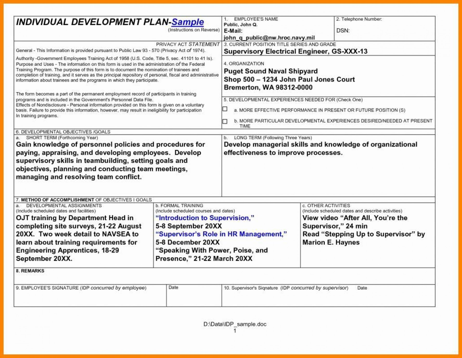 001 Incredible Personal Development Plan Template Doc High Def  Doctor Word Document1920