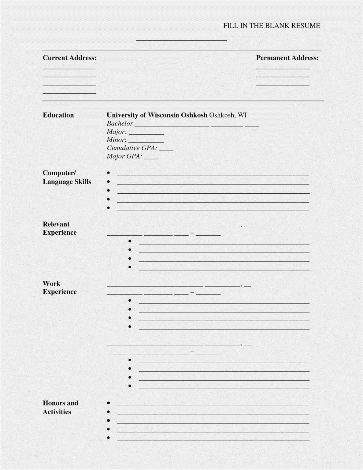 001 Magnificent Free Blank Resume Template Word Inspiration  Downloadable M For MicrosoftFull