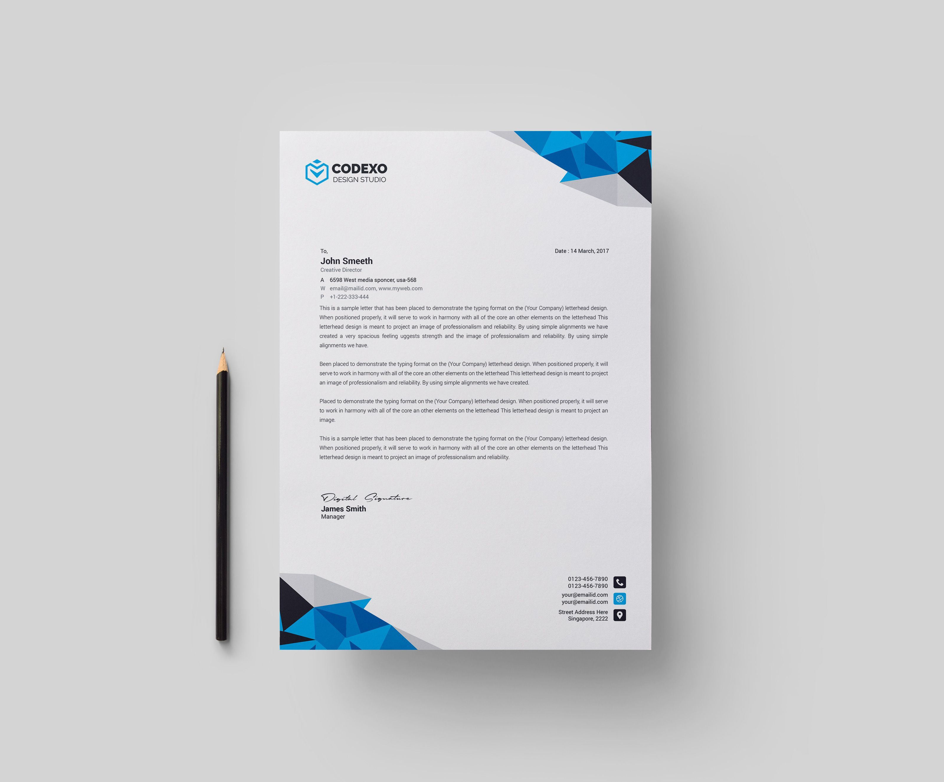 001 Magnificent Letterhead Template Free Download Psd High Def  A4 CompanyFull