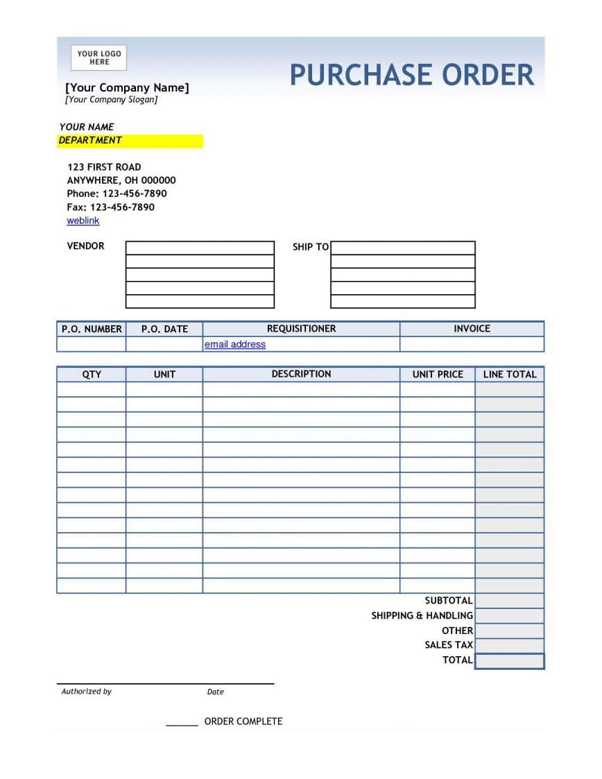 001 Magnificent Purchase Order Excel Template Highest Quality  Vba Download Free868