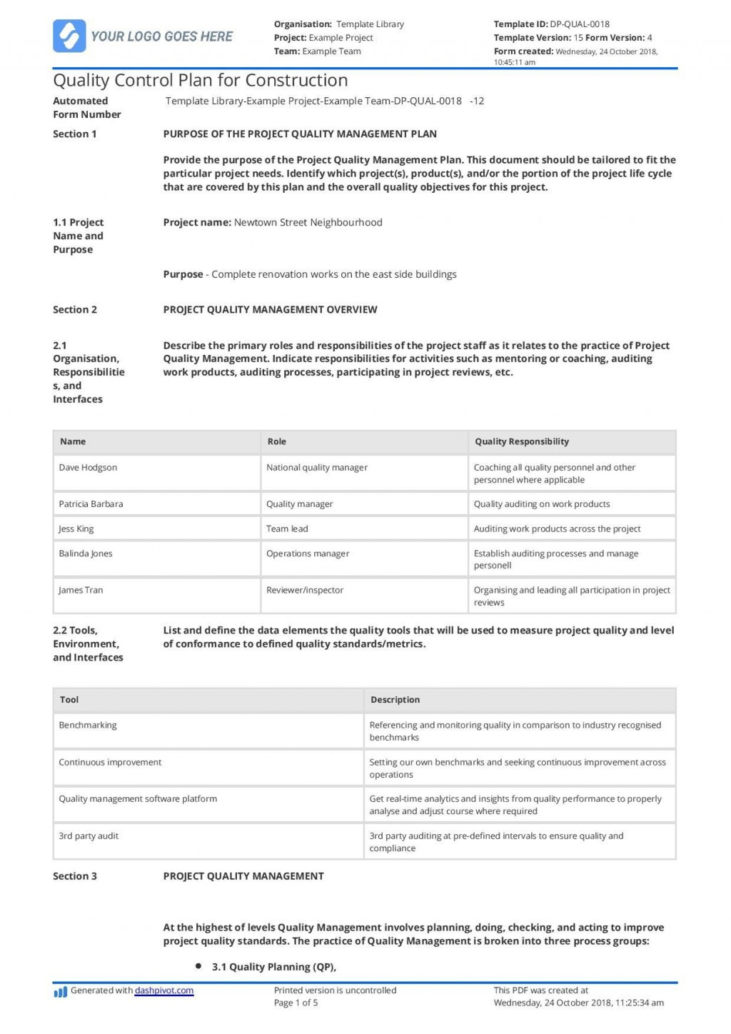 001 Magnificent Quality Management Plan Template Highest Clarity  Templates Sample Pdf ConstructionLarge