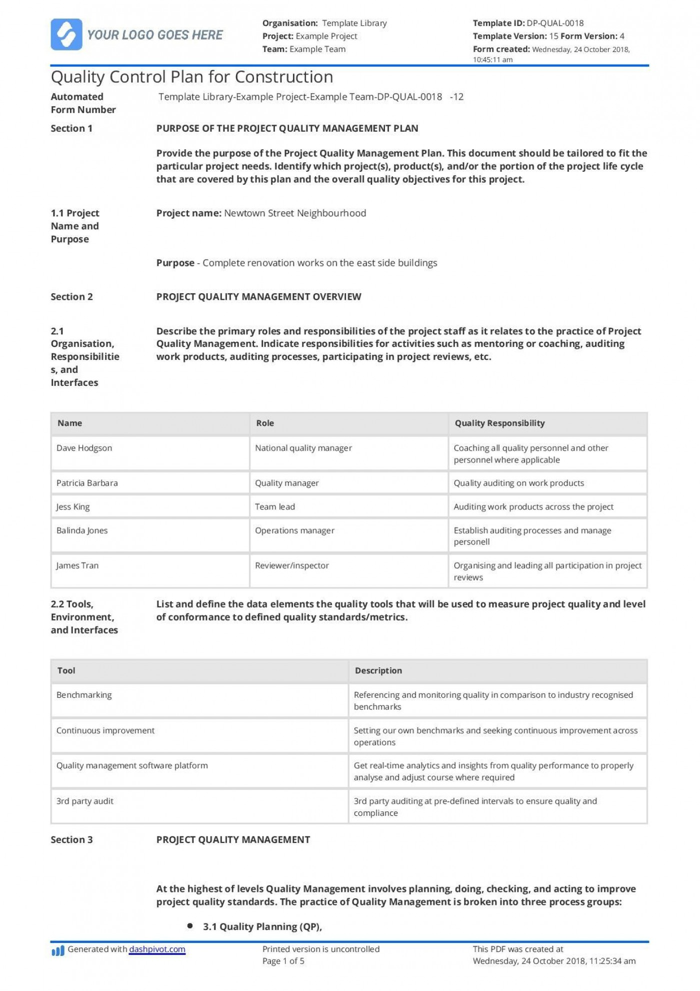 001 Magnificent Quality Management Plan Template Highest Clarity  Sample Pdf Example In Construction Doc1400