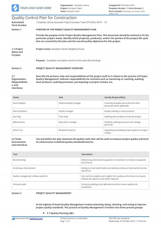 001 Magnificent Quality Management Plan Template Highest Clarity  Sample Pdf Example In Construction Doc320