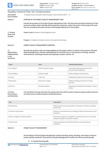 001 Magnificent Quality Management Plan Template Highest Clarity  Sample Pdf Example In Construction Doc360