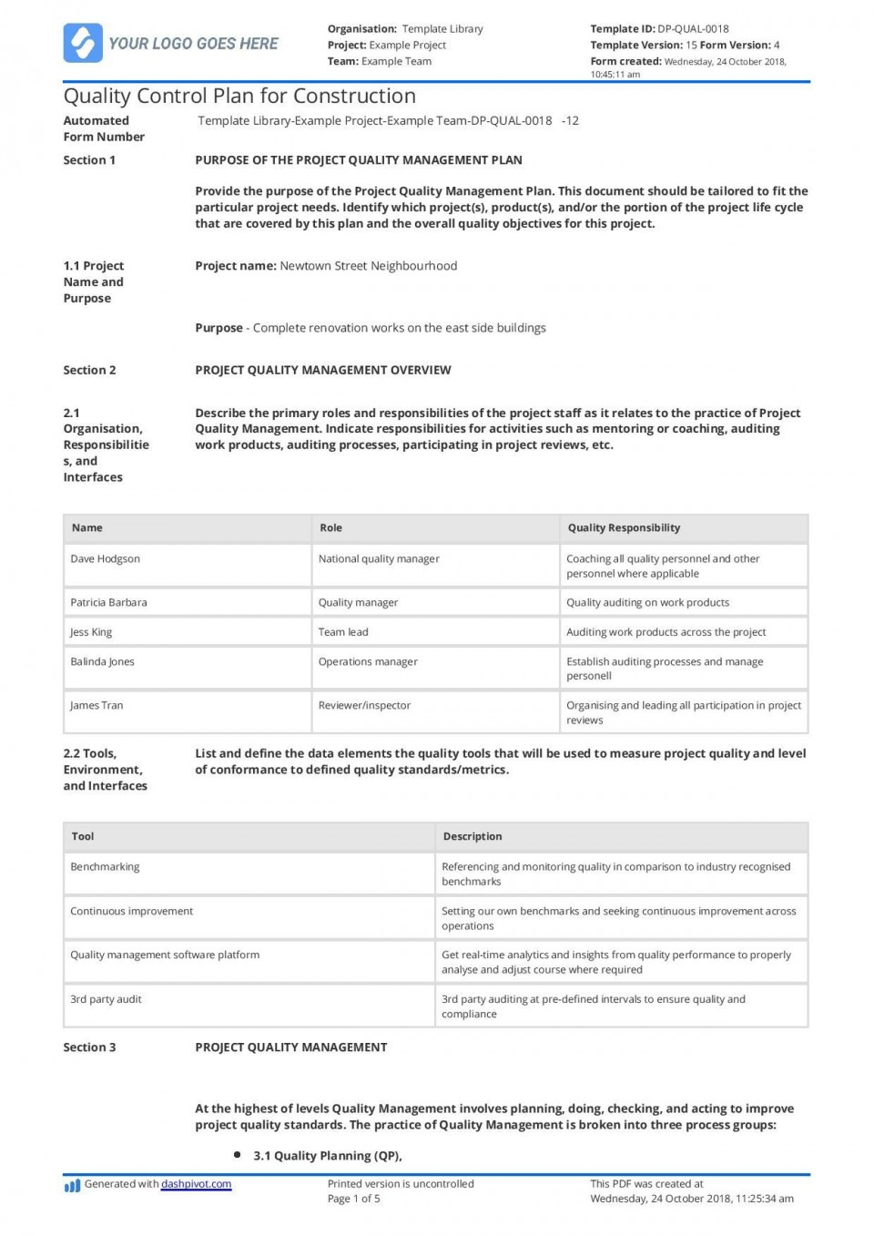 001 Magnificent Quality Management Plan Template Highest Clarity  Sample Pdf Example In Construction Doc960